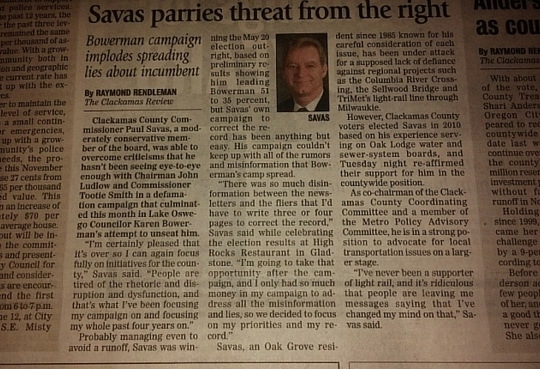 Savas parries threat from the right